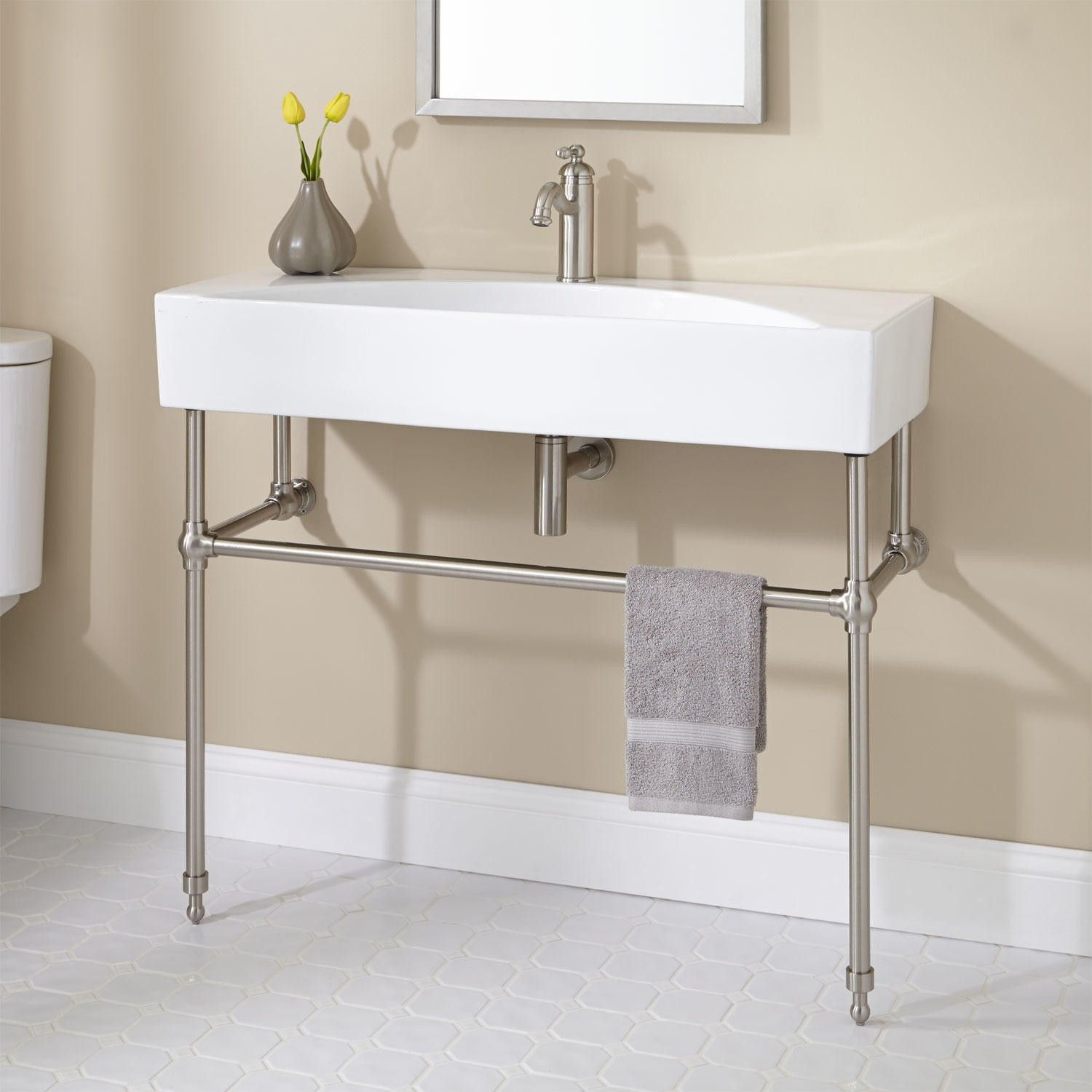 Zita Console Sink with Brass Stand - Console Sinks - Bathroom ...