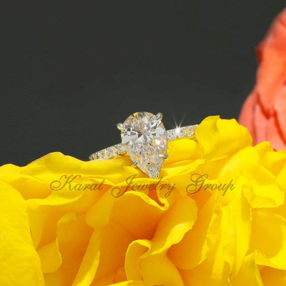 10.5x7mm 2.40ct Pear SUPERNOVA Moissanite and by KaratJewelryGroup