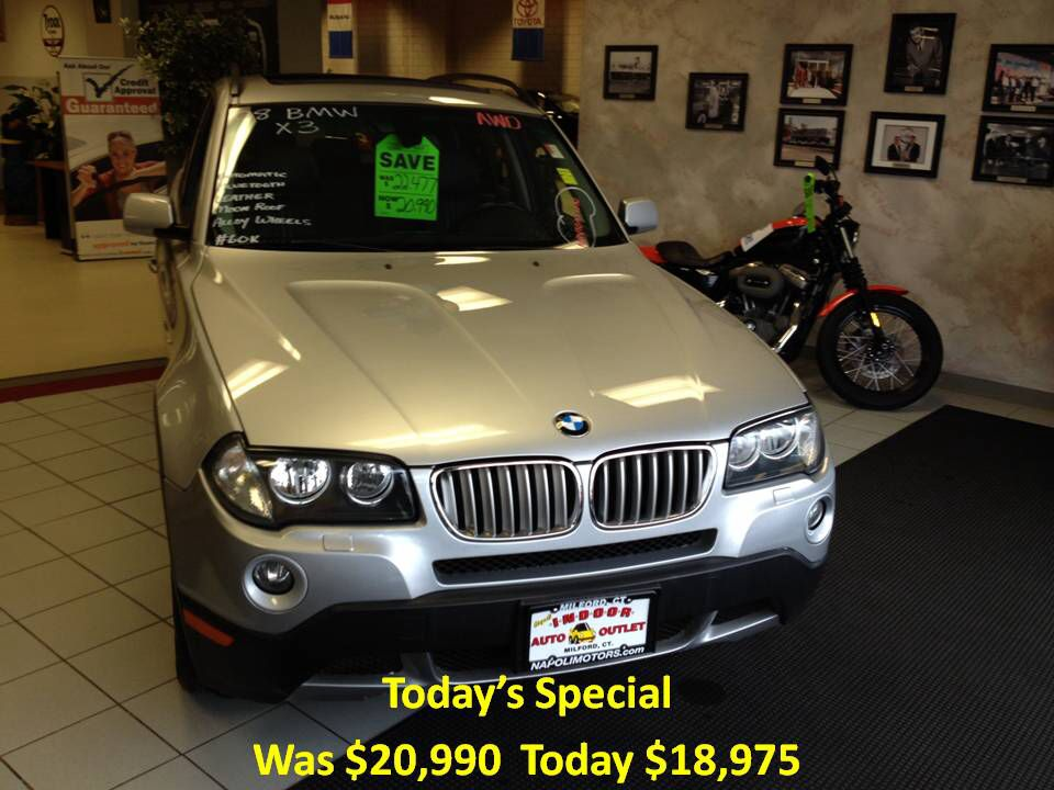 Today's Special. 2008 BMW X3 60k, AWD, navi, Bluetooth! For the best deal on wheels call Jim Zim @ 203-783-5850 ext 1308