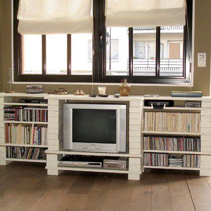 mini budget et maxi effet pour ce meuble en briques blanches diy meuble tv pinterest. Black Bedroom Furniture Sets. Home Design Ideas