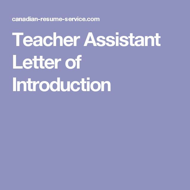 Teacher Assistant Letter Of Introduction  Teaching Applications