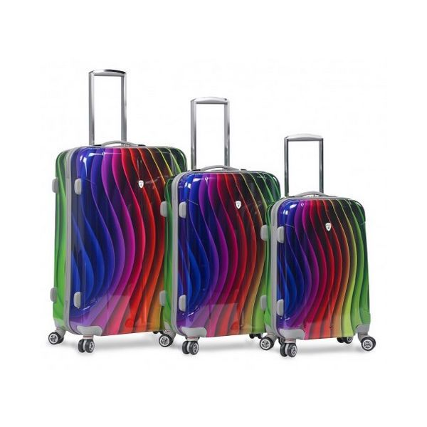 Rainbow Color Hard Case 3 PC Rolling Spinner Luggage Suitcase Set 4