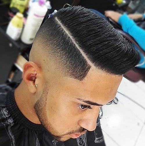 Modern Pompadour with Deep Part and Skin Fade , Undercut Fade Haircut