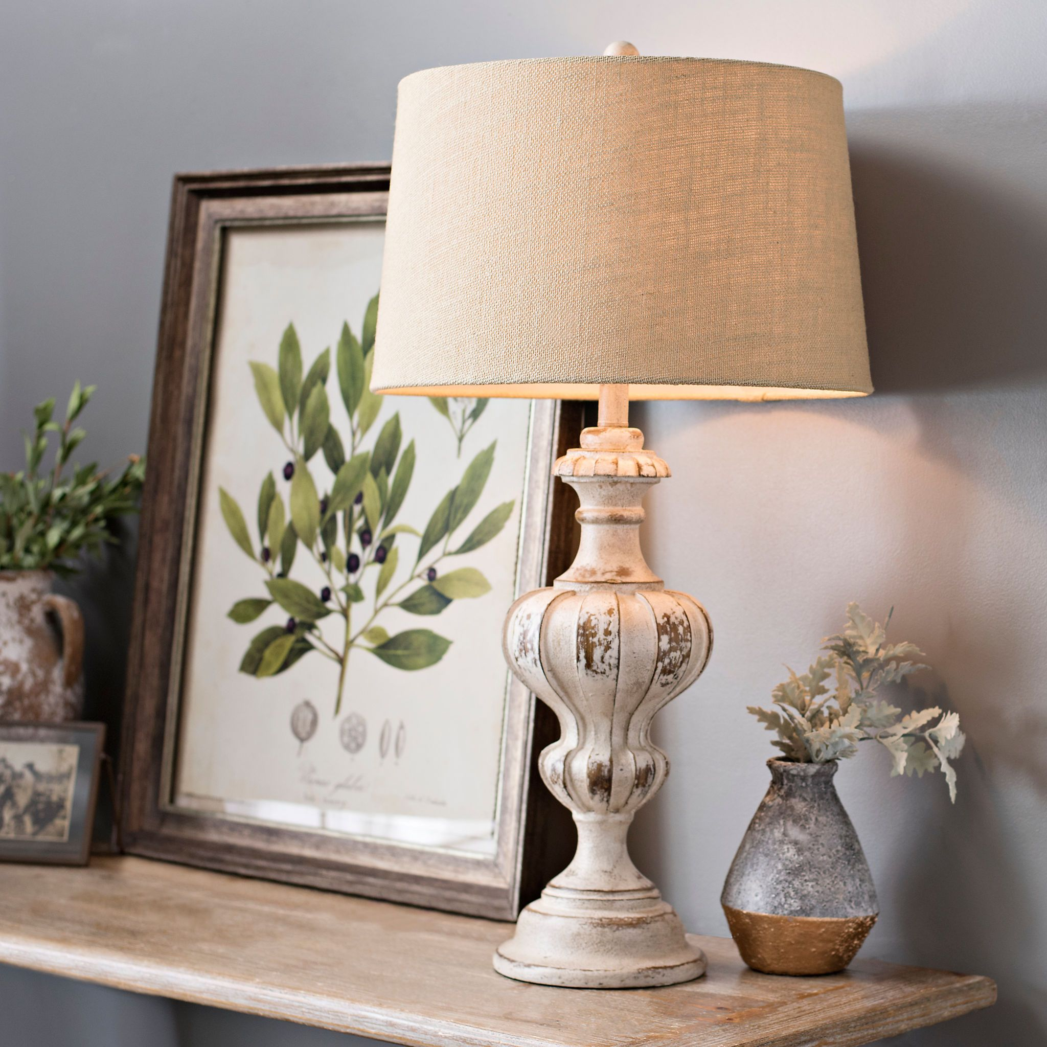 Abigail Weathered White Table Lamp Farmhouse table lamps