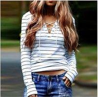Wish | Women Sexy Fashion Long Sleeve Casual Tops Girls Slim T-Shirt Blouse Charm Shirt