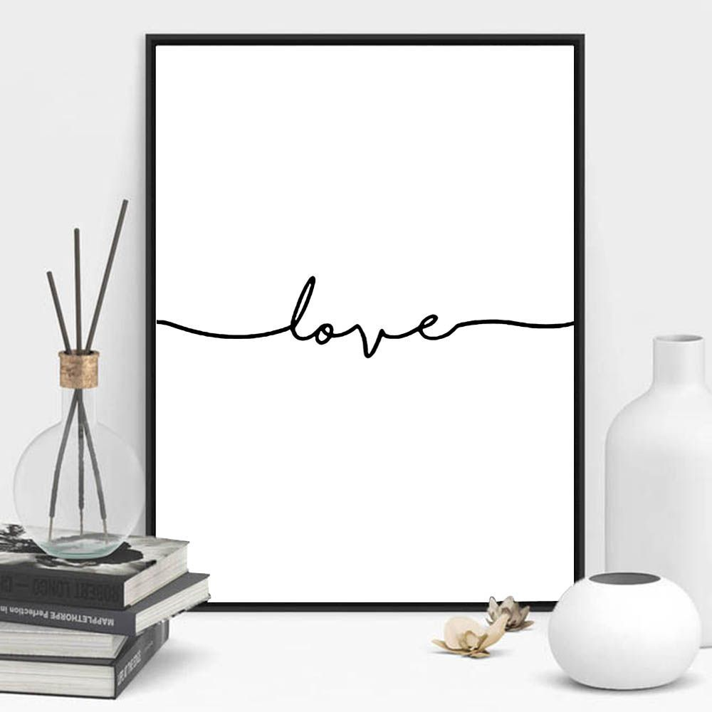 Love sign word art black and white poster canvas prints art