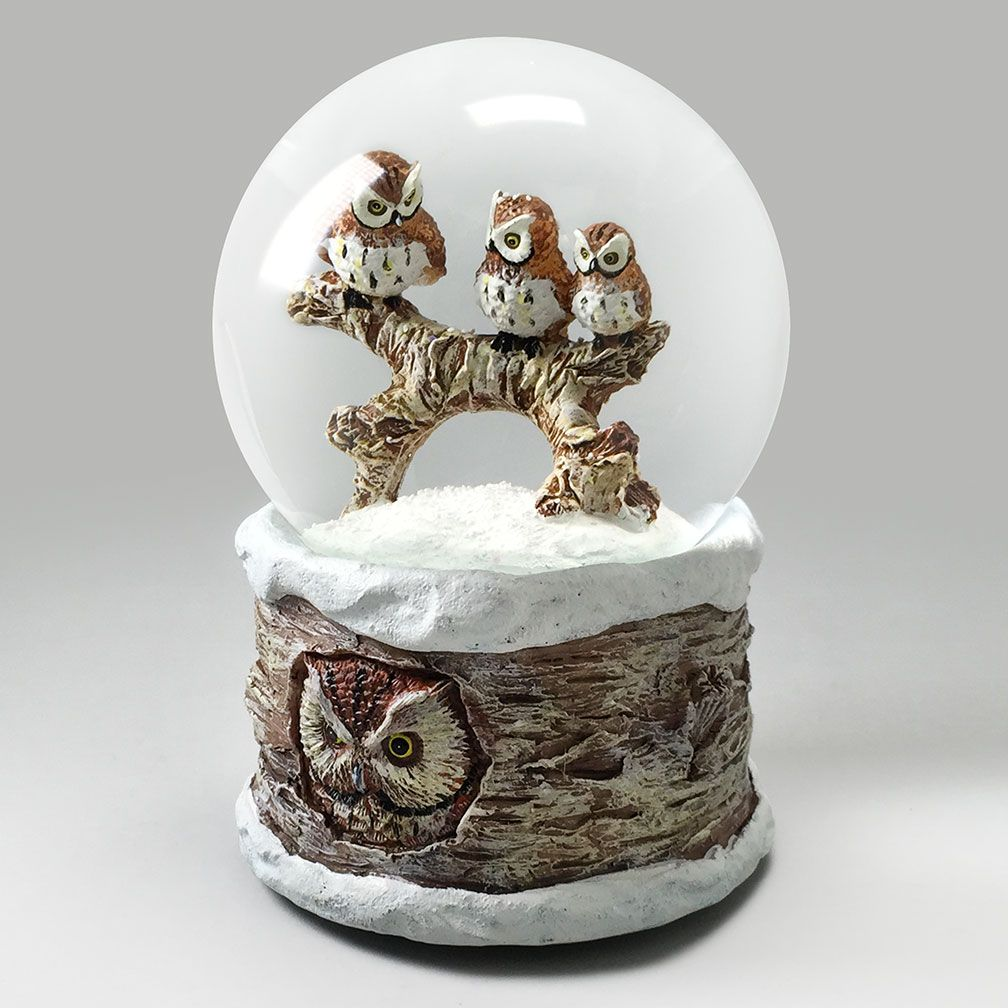 Three Wise Owls (With images) Snow globes