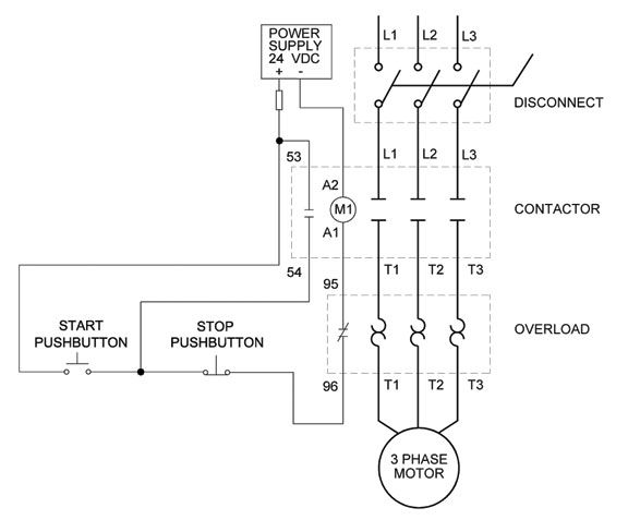 full voltage non reversing 3 phase motor diagram electricos rh pinterest com wiring diagram for a 3 phase motor starter 6 Wire 3 Phase Motor Wiring