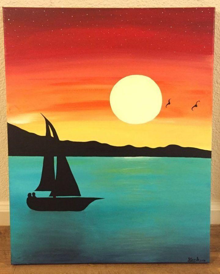 Aquarell Acrylsegelboot Sonnenuntergang Malerei Sailboatdrawing
