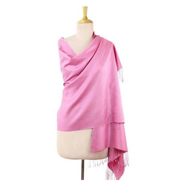 NOVICA Artisan Crafted Pink Woven Silk Shawl with Fringe ($36) ❤ liked on Polyvore featuring accessories, scarves, clothing & accessories, pink, shawls, pink silk scarves, fringe shawl, pink scarves, pink shawl and woven scarves