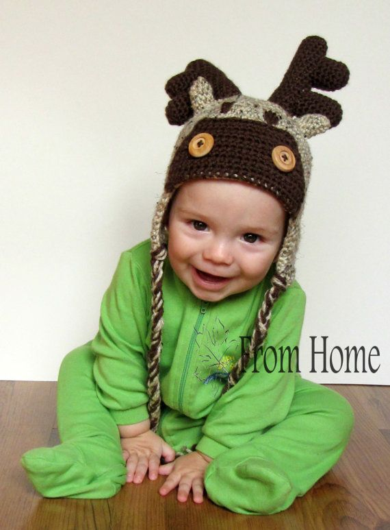 Moosereindeer Crochet Earflap Hat Baby Toddler Child Adult