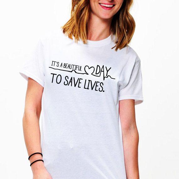Es un hermoso día a guardar vive gris anatomía camiseta-las mujeres ...