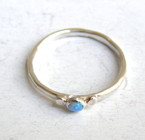 Stacking ring Engagement Ring blue stone opal ring by OritNaar,