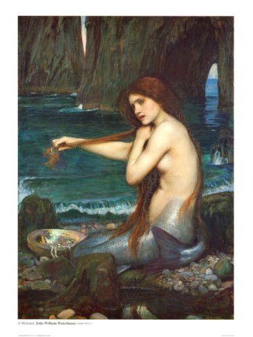 Print John William Waterhouse British Pre Raphalite Mermaid