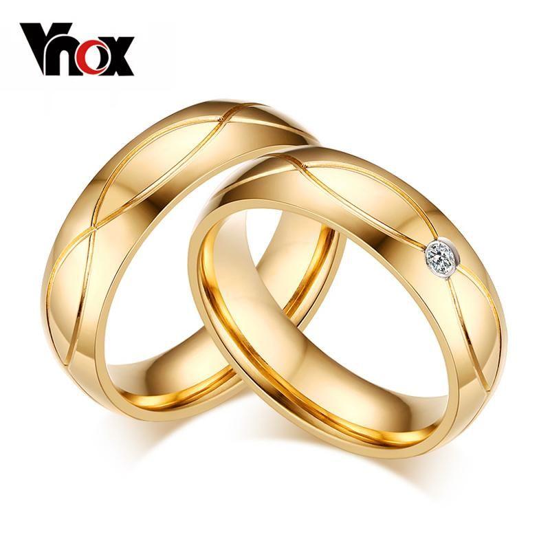 Vnox Wedding Bands Rings For Women Men Gold Color Stainless Steel