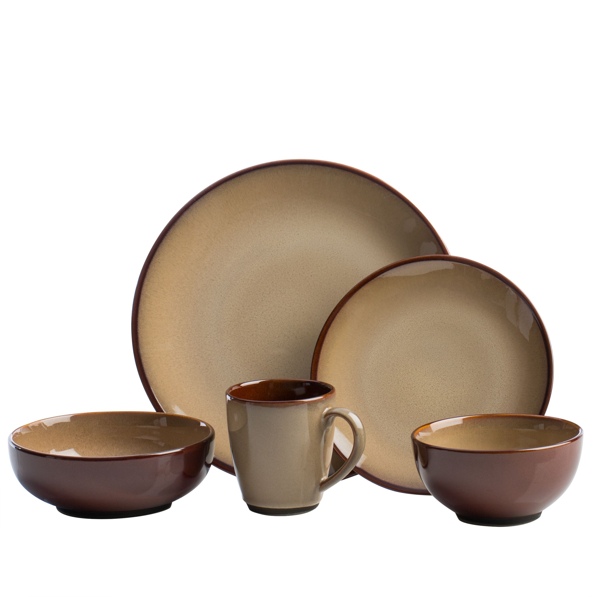 This Nova Brown 40-piece stoneware dinnerware set has a rustic look and casual style  sc 1 st  Pinterest & This Nova Brown 40-piece stoneware dinnerware set has a rustic look ...