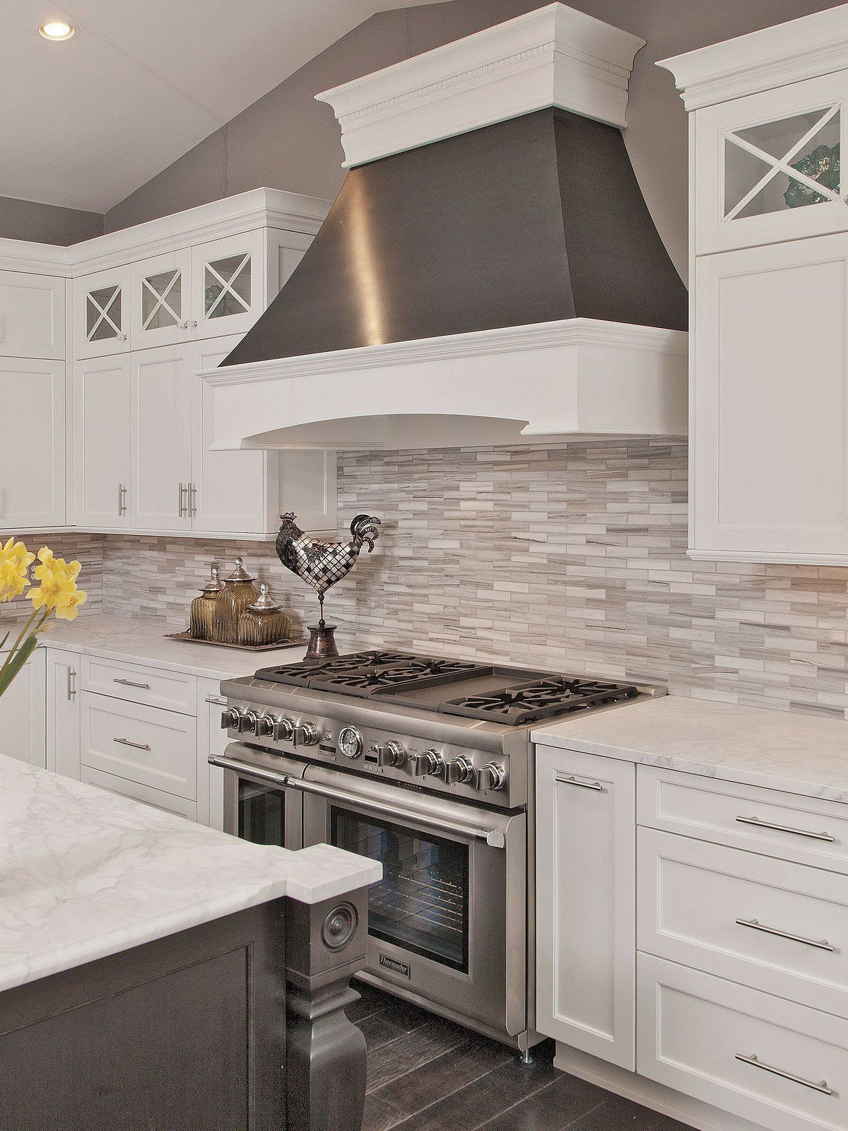 Modern White Gray Subway Marble Backsplash Tile Kitchen Remodel
