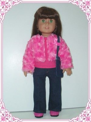 "Hot Pink Faux Fur Jacket Jeans Top Purse Doll Clothes Fit 18"" American Girl 