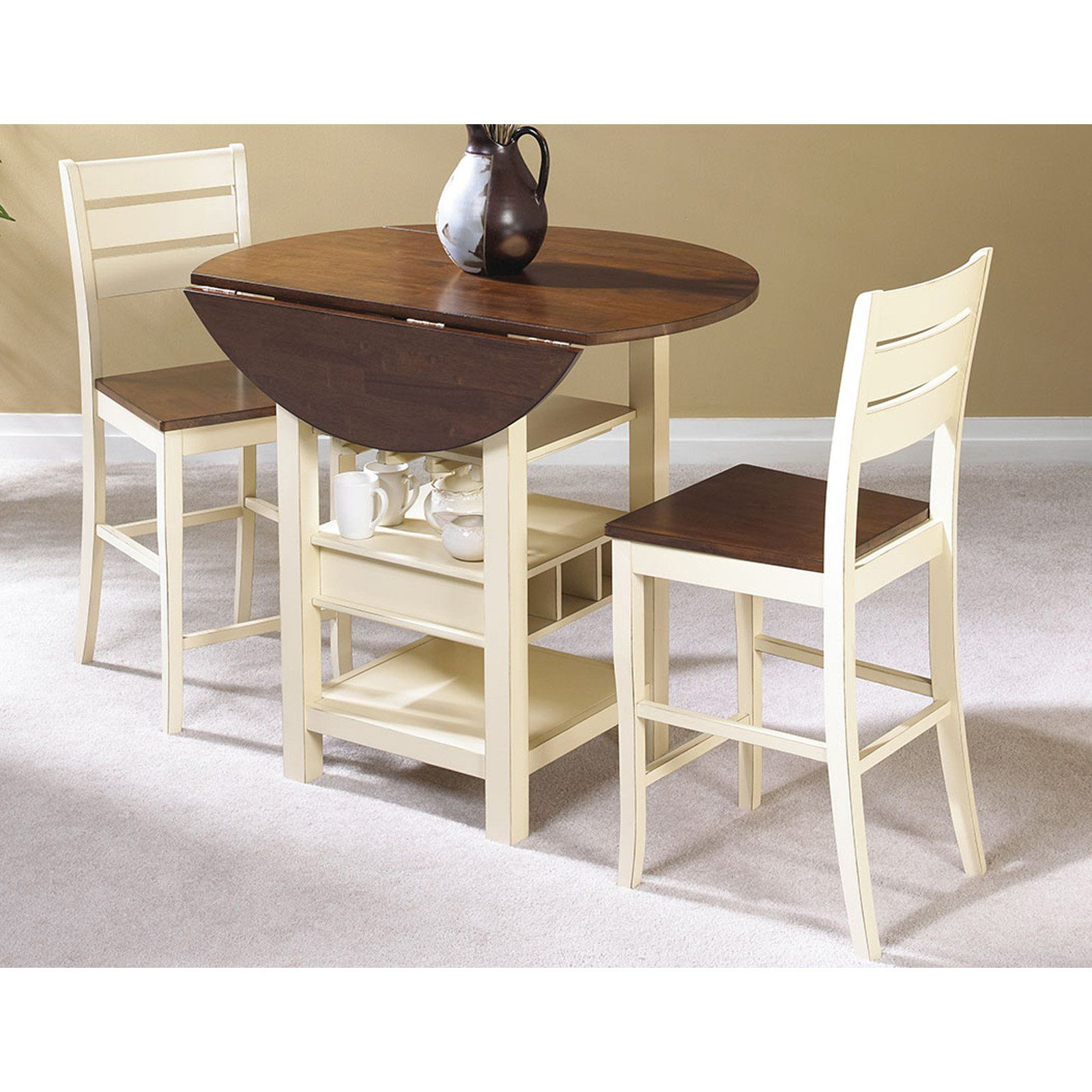 Sunset Trading Cascade 3 Piece Cream & Espresso Pub Table Set