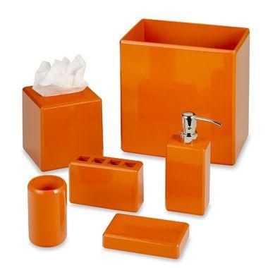 An Orange Lacquer Bath Ensemble Also, Bathroom Accessories Orange