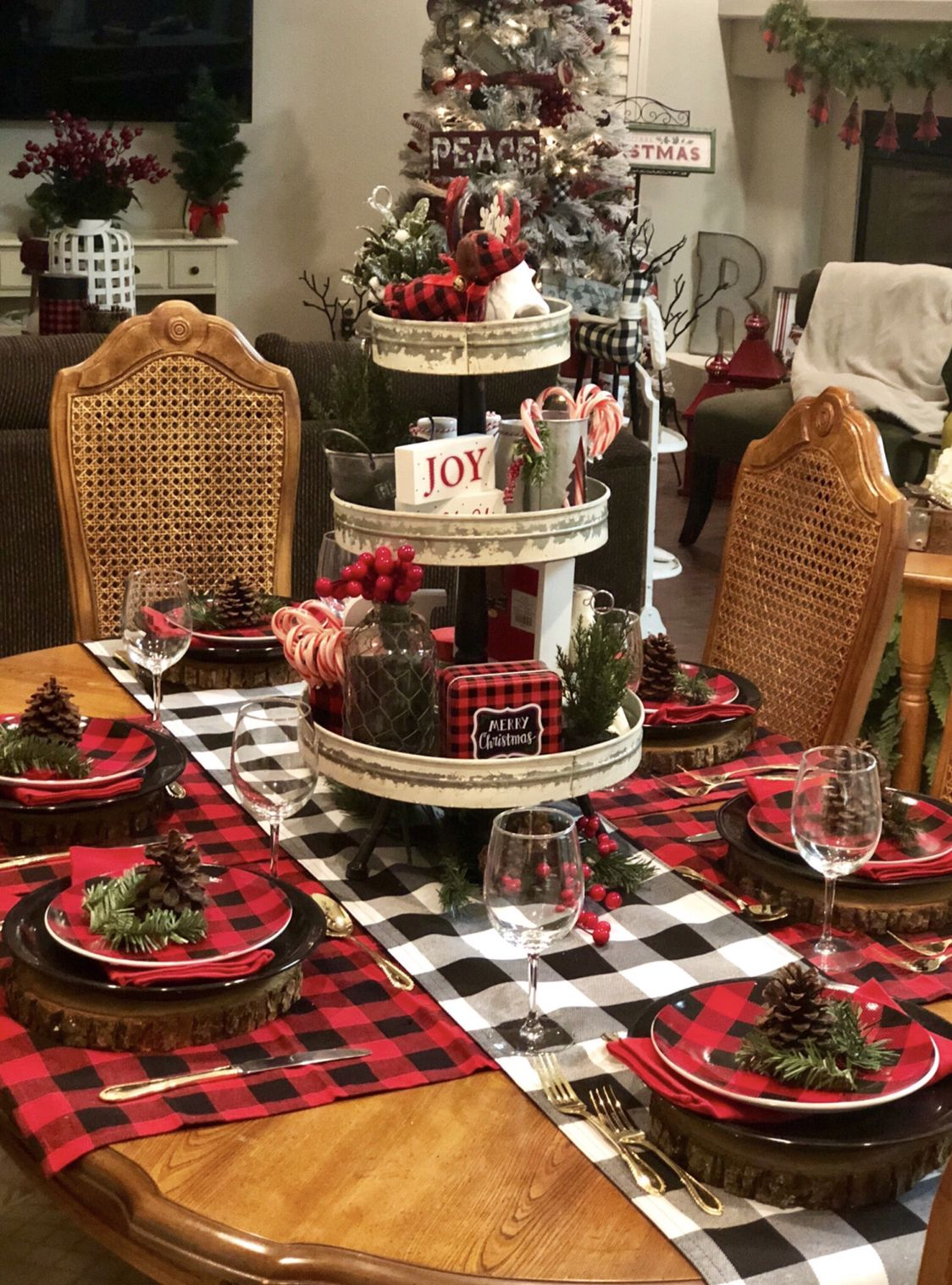 The Joy Of My Buffalo Check Table Setting In 2020 Christmas Table Decorations Centerpiece Christmas Table Decorations Christmas Centerpieces