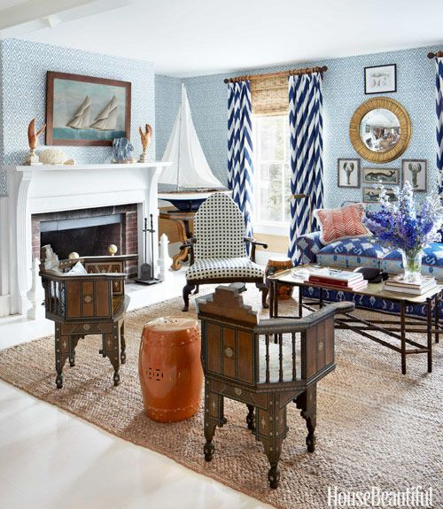 Layers Of Pattern And Colors Living Room Designs Coastal Living