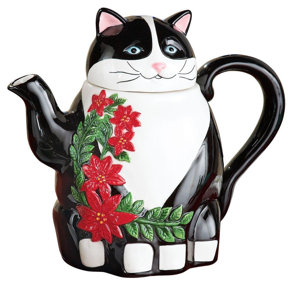 Holiday Cat Poinsettia Teapot ** For more information