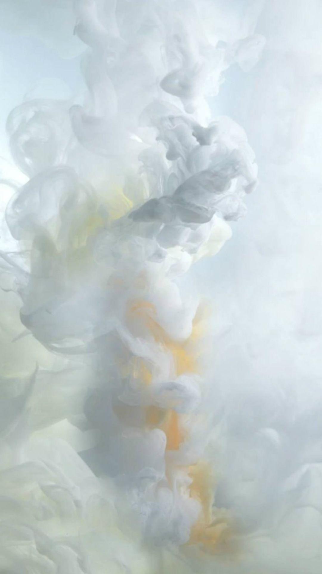 White Ink Smoke iOS9 Wallpaper Art iPhone 6 wallpaper fog