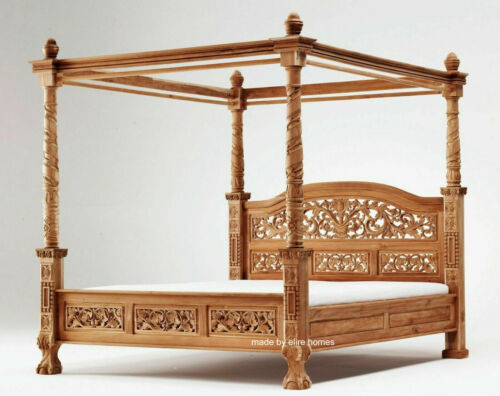 Details about NEW Teak Wood Natural Carved French style