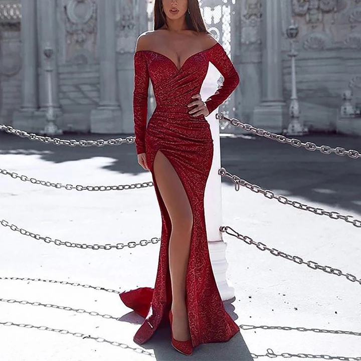 Photo of Sexy One-shouldered Long-sleeved High-slit Slim Fishtail Evening