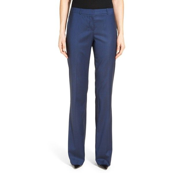 Women's Boss 'Tulea' Stretch Wool Blend Suit Trousers ($184) ❤ liked on Polyvore featuring pants, blue melange, boot cut pants, stretch pants, bootcut stretch pants, slacks pants and stretchy pants