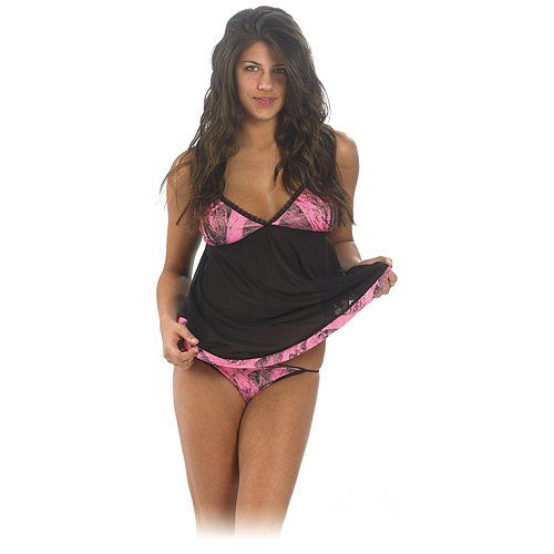 4294bfb55751 Turn the bedroom on fire with this Weber Naked North Pink Camo Lace Baby  Doll Set at PinkCamo.net. Weber Naked North Pink Baby Doll Set features : *  Naked ...