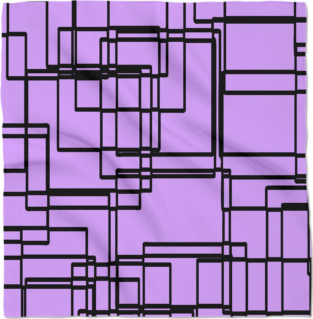 e9945af0e0c5 Black and light purple geometric blocks bandana, square frames pattern  24x24 kerchief. Asymetric theme