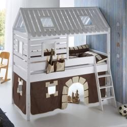 Hochbett Spielbett Bergen-13 Buche massiv weiß lackiert. Textilset Burg Relita
