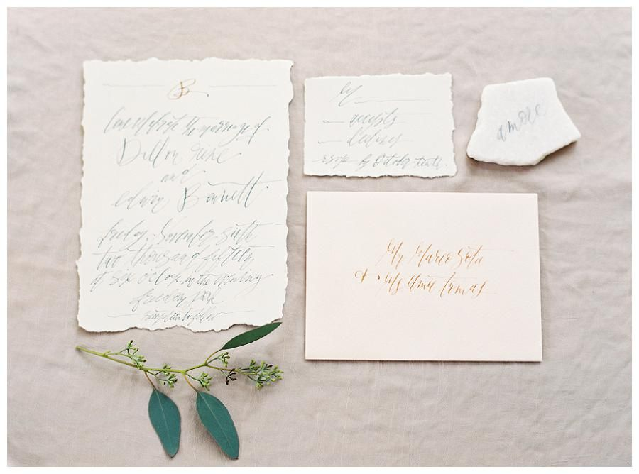 Wedding invitation suite on deckle edge paper with elegant modern wedding invitation suite on deckle edge paper with elegant modern calligraphy by olde york station image by allison kuhn photography stopboris Images
