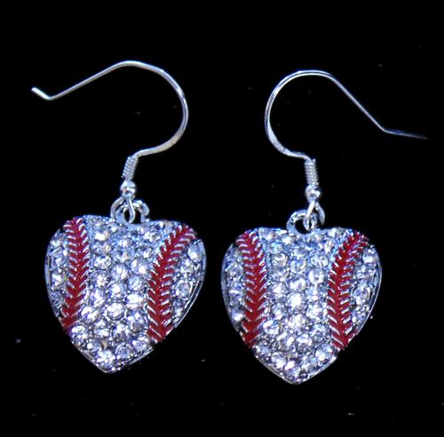 Rhinestone Encrusted Heart Earrings