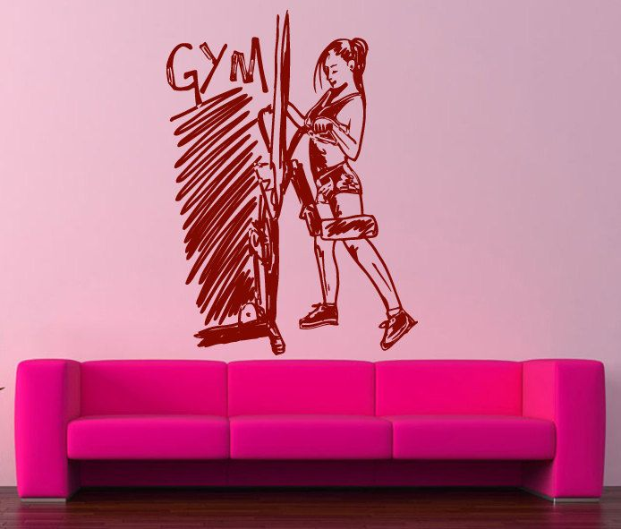 Wall Decal Room Sticker Gym Workout Girl Fitness Boxing Healthy Life ...