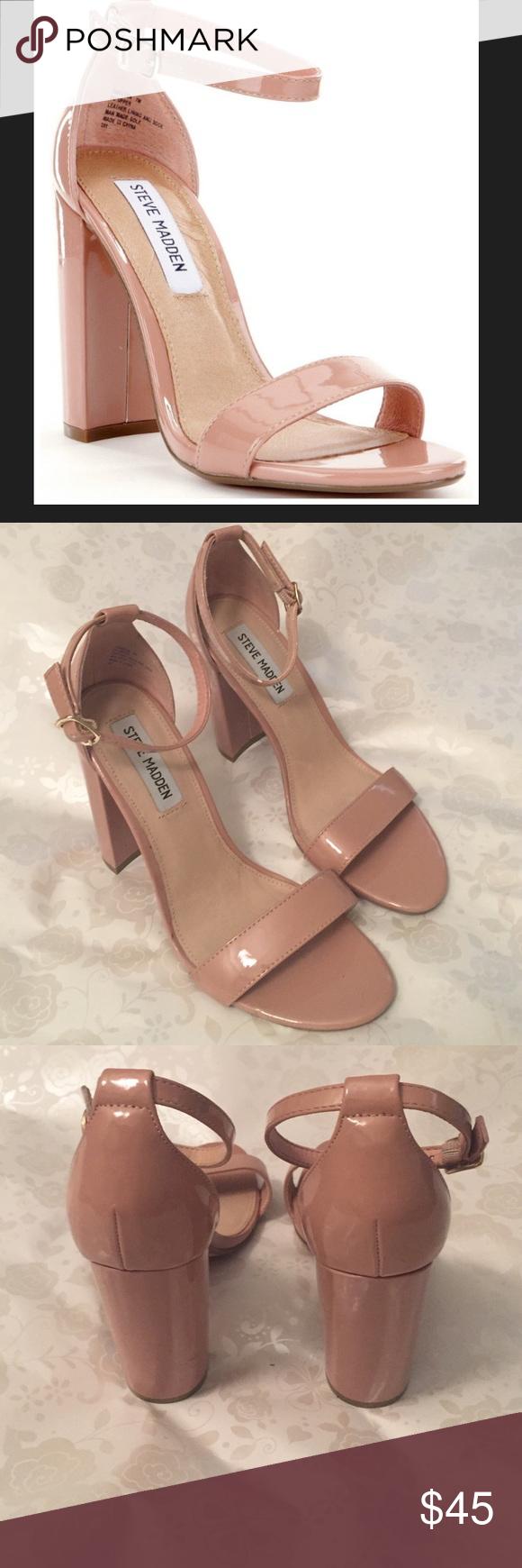 ca8ad7b17c7 Steve Madden Carrson Block Heel Sandals Blush patent leather block heel  with tasteful ankle strap. Worn once. Steve Madden Shoes Heels