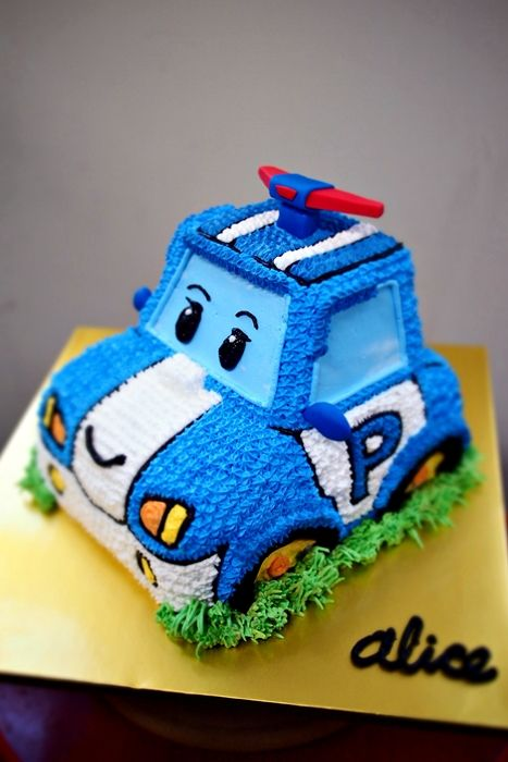 Robocar Poli Character Cake This Is Heavy Whip Cream Made By Alice