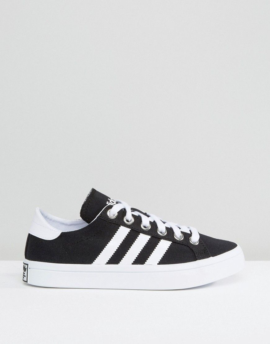 the latest 27678 6db10 adidas Originals Black And White Court Vantage Trainers