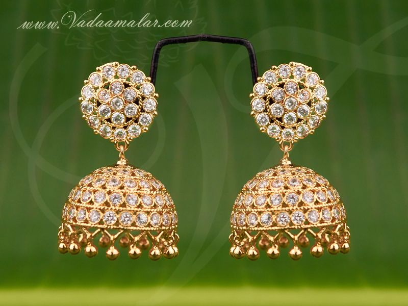 6bffe6512 Gold plated white stone jhumka jhumki buy online | Jhumka Earrings ...