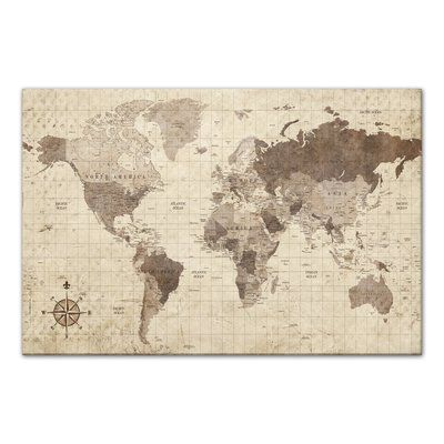Charlton home distressed world map rectangle graphic art print on charlton home distressed world map rectangle graphic art print on canvas size 32 gumiabroncs Image collections