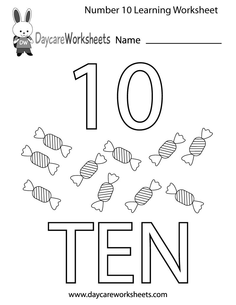 Free Preschool Number Ten Learning Worksheet Numbers Preschool Learning Worksheets Kindergarten Math Worksheets Free