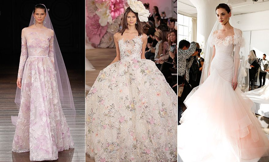 Want to move away from the traditional white bridal gown? Well why not follow in the footsteps of Jessica Biel, Anne Hathaway and Julianne Moore and opt for a colored wedding dress?   To inspire you we've put together a gallery of the most gorgeous pastel and colored wedding gowns from the Spring/Summer 2017 bridal collections.