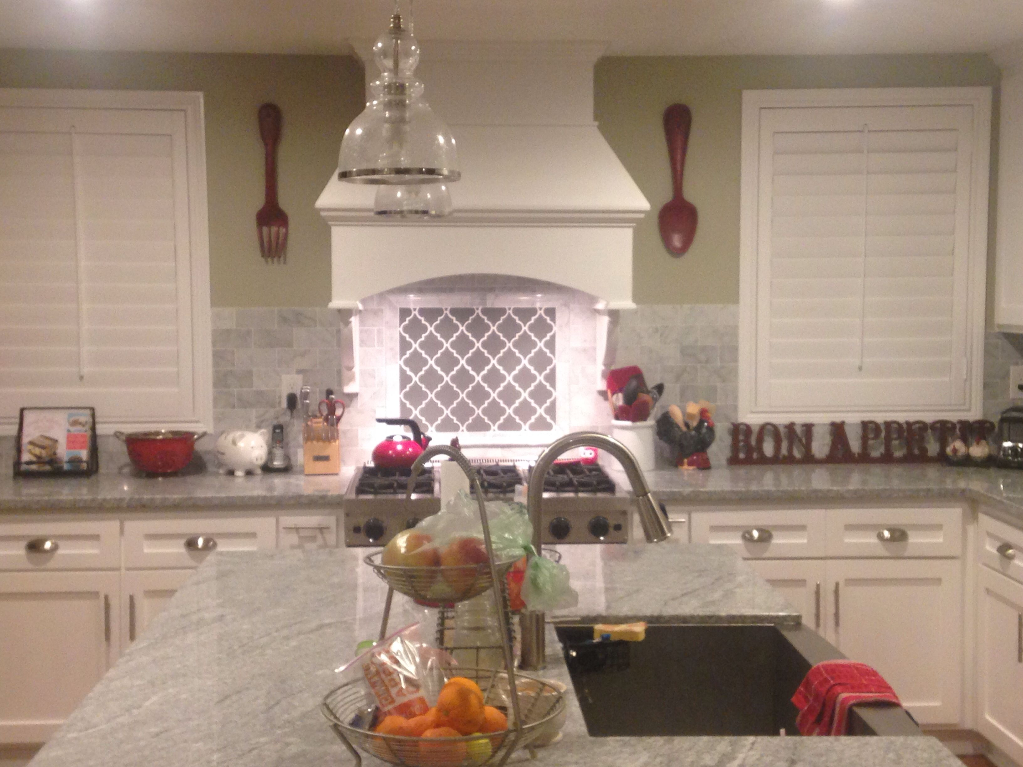 New white kitchen carrera bianco subway tile backsplash viscount carrera bianco subway tile backsplash viscount white granite shaker style cabinets and new red spoon and fork over range hood need to paint walls grey dailygadgetfo Image collections