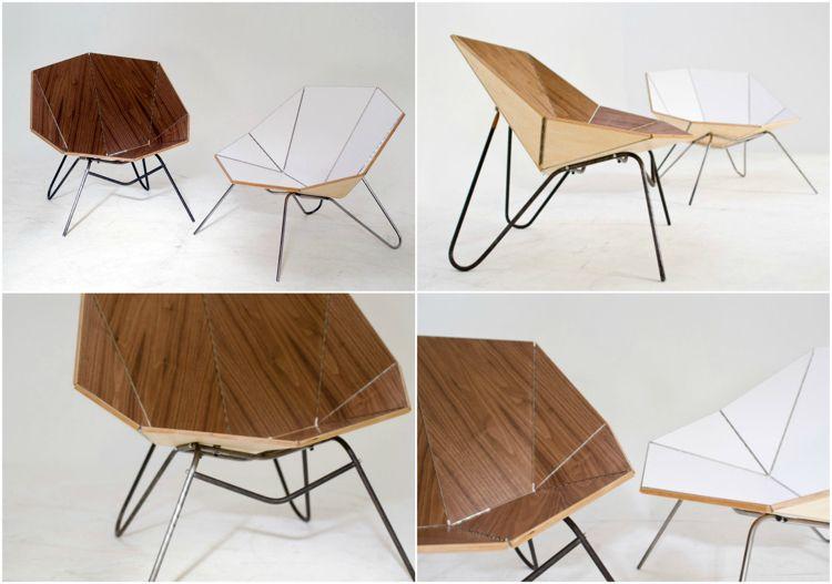 Origami Möbel holz stuhl mit metall gestell möbel ideen origami