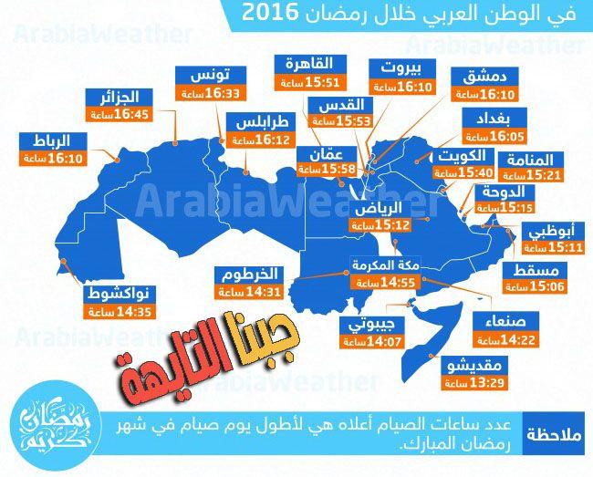 تعرف على عدد ساعات الصوم في رمضان 2016 في جميع دول العالم Ramadan Map Asos