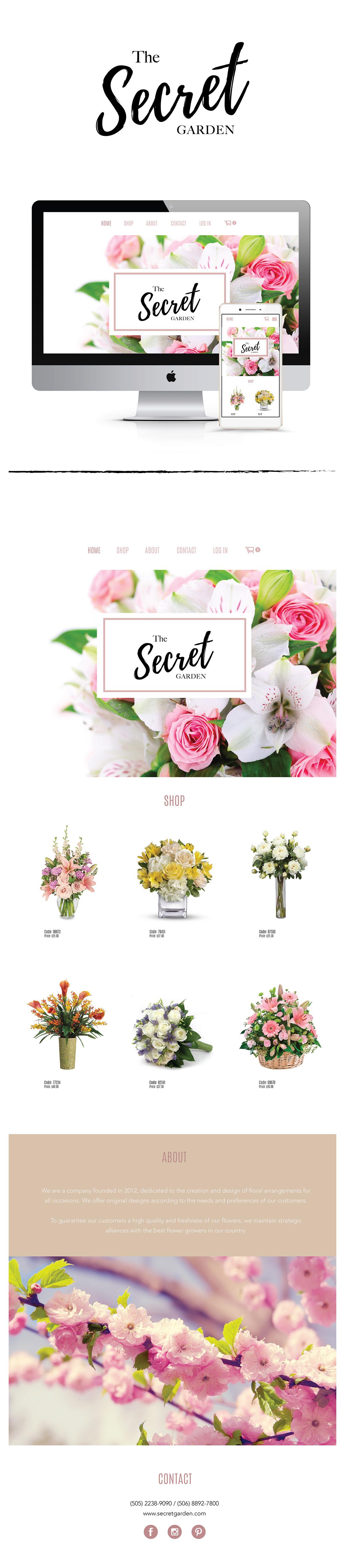 Design of a logo and a website for the company of floral arrangements The Secret Garden. // Diseño de un logo y un sitio web para la empresa de arreglos florales The Secret Garden.This is not a real proyect.