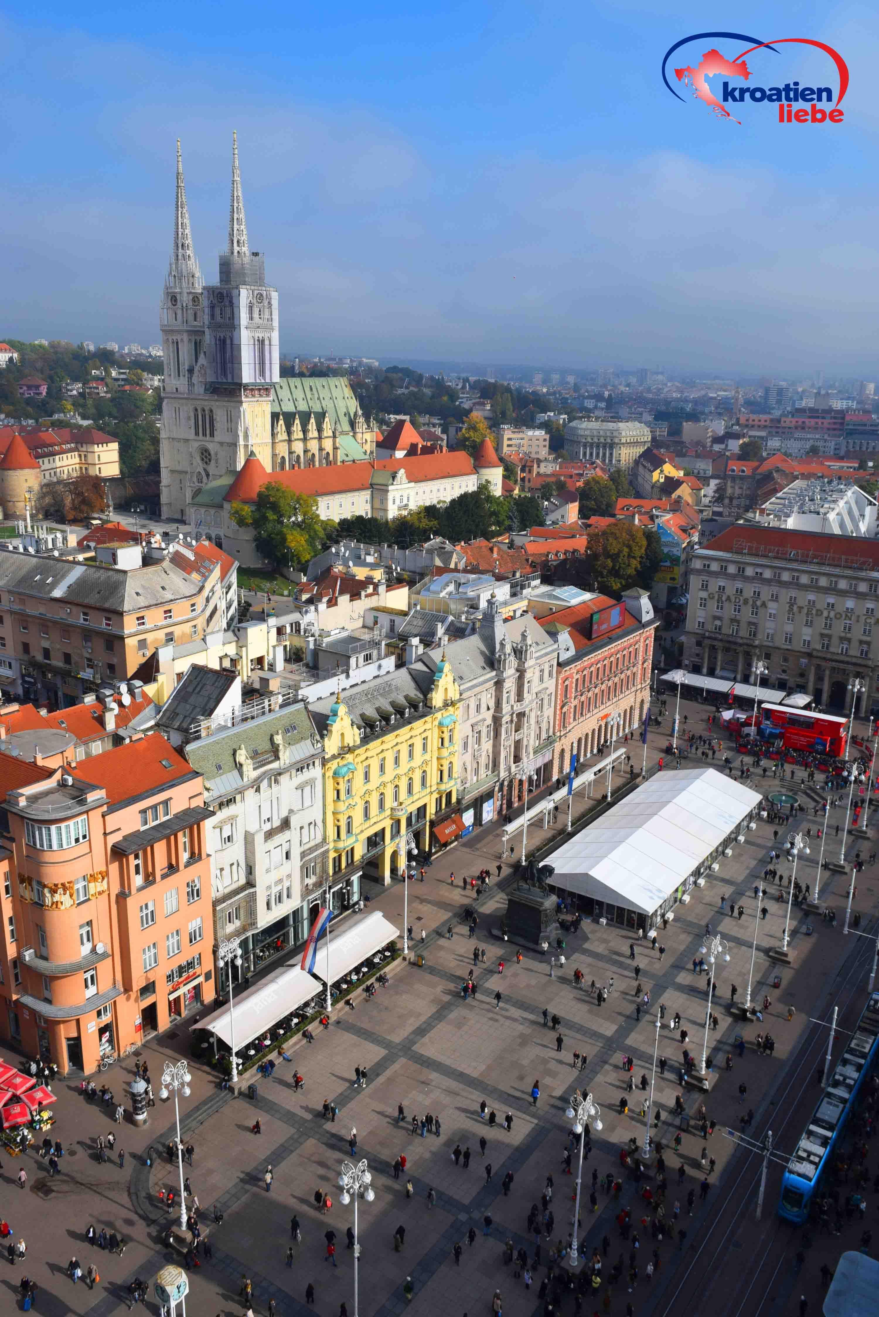 Blick Vom Zagreb Eye Auf Den Jelacicev Trg Und Die Kathedrale Von