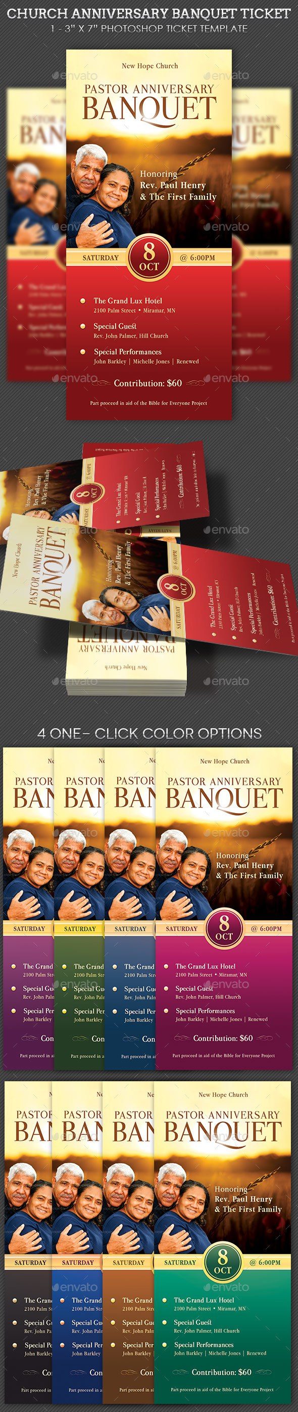 pastor anniversary banquet ticket template miscellaneous print